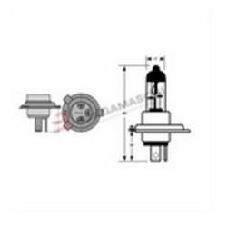 LAMP GE H4 +50 BLU 12V...